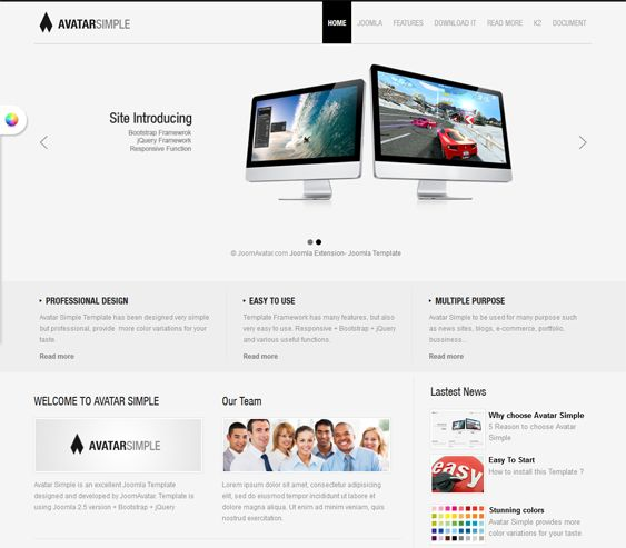 This minimal Joomla theme includes a responsive layout, jQuery effects, Bootstrap integration, Google Fonts support, multiple color schemes, a featured image slider, 60 module positions, and more.