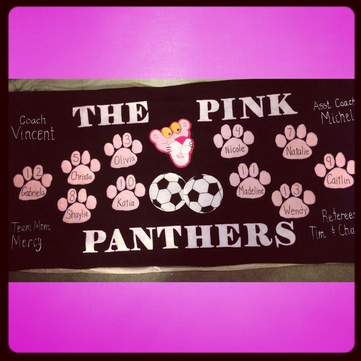 The Pink Panthers soccer banner.