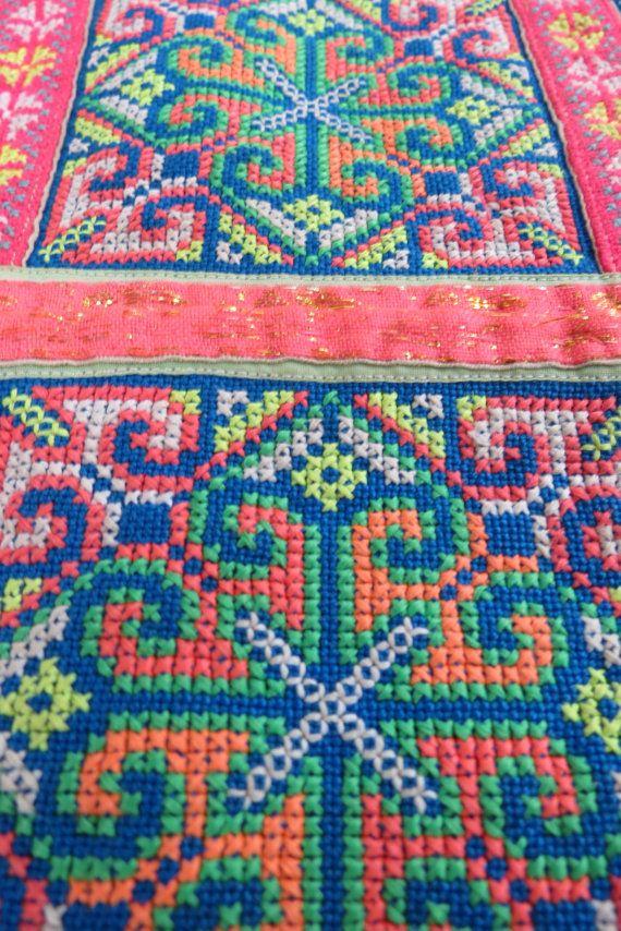 Tissu vintage des Hmong textiles fait main tapisserie par dellshop