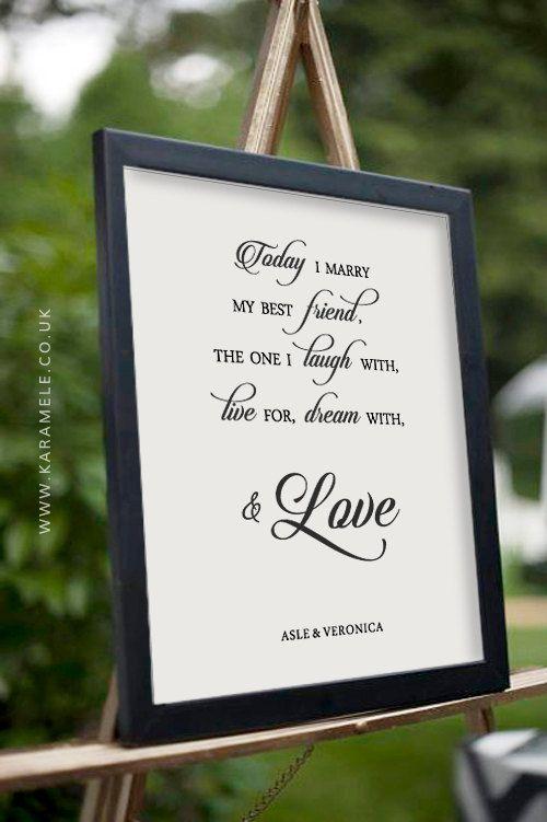Today I Marry My Best Friend Wedding Quote  by KarameleShop