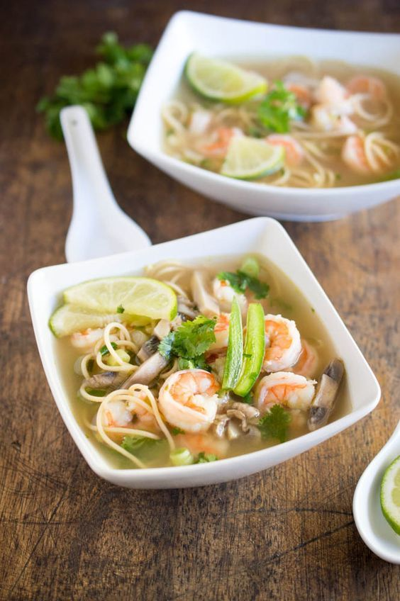 This Spicy Shrimp Pho is a twist on the traditional Vietnamese soup made with chicken broth, shrimp, cilantro and lime. | chefsavvy.com #recipe #soup