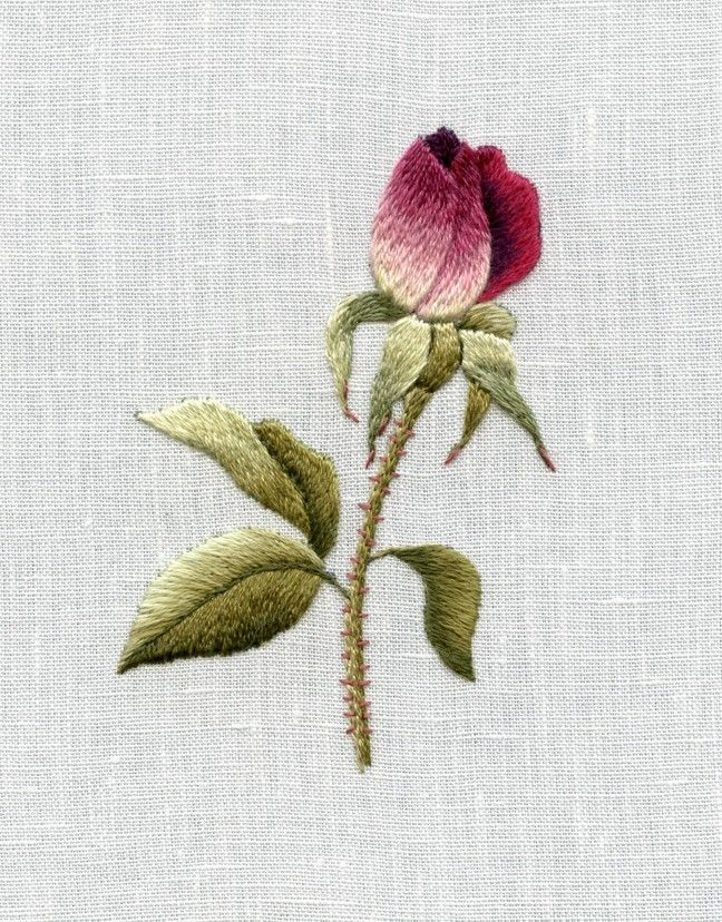 Needle Painting with Thread-Iceberg Rosebud by Trish Burr