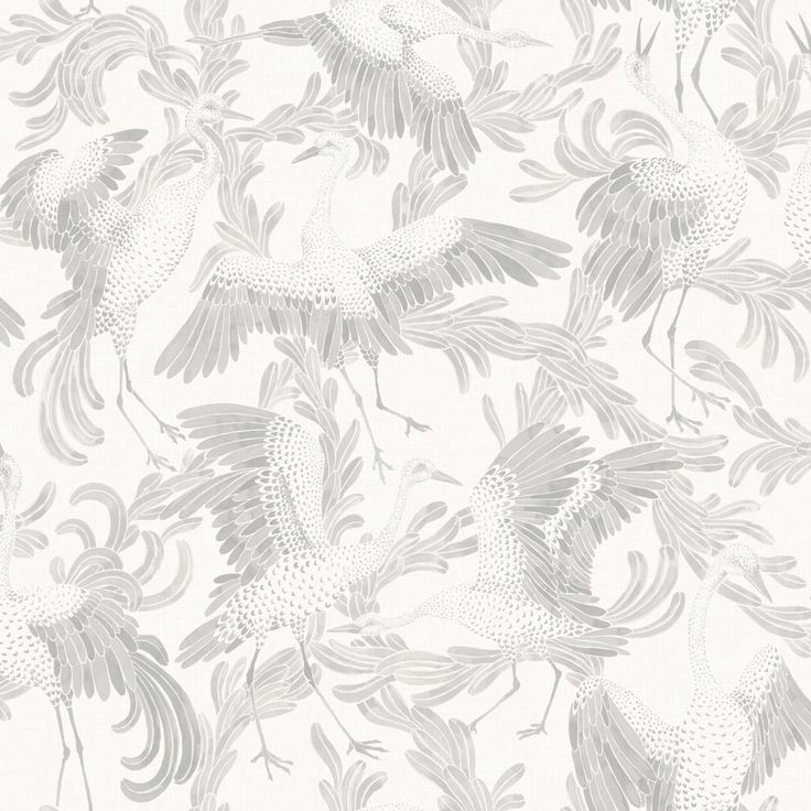 Eco Wallpaper Dancing Cranes Light Grey Wallpaper main image