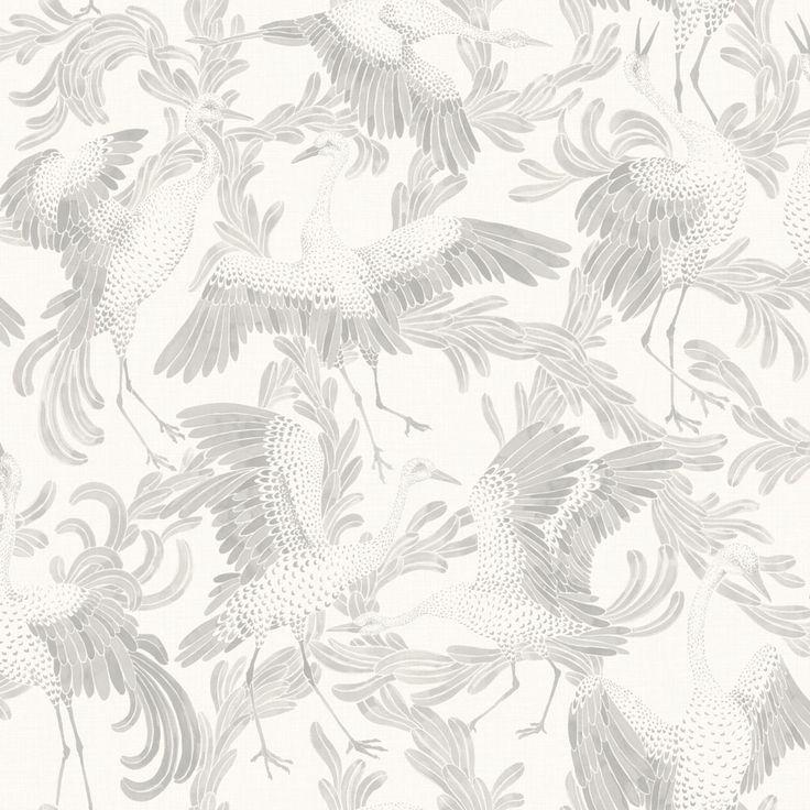Eco Wallpaper Dancing Cranes Light Grey Wallpaper main image