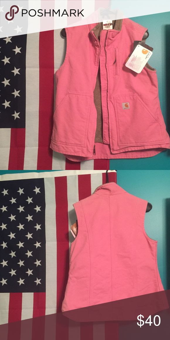 Pink Carhartt vest Sherpa lined. Two outer pockets and two inner pockets. Carhartt Jackets & Coats Vests