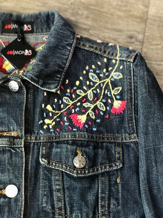 f863bb6bb Embroidered denim Jacket in 2019 | Embroidered Denim | Embroidered ...