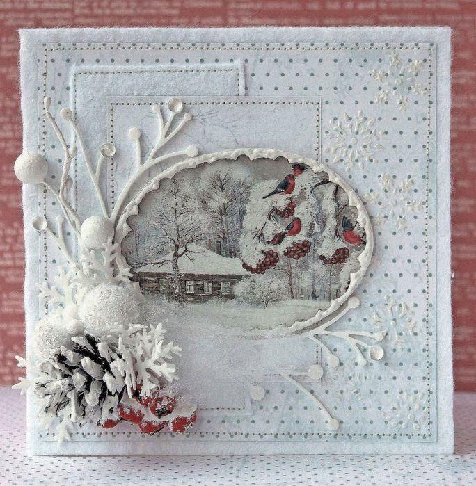 Новогодние и рождественские открытки скрапбукинг