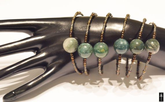 Handmade Beaded  Bracelet with grey moss agates by BYTWINS on Etsy