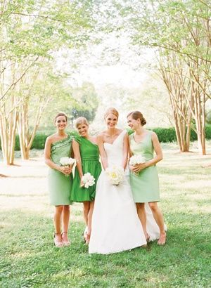 Raspberry Wedding » WEDDING COLOUR INSPIRATION 2013: GREEN, PEACH & GOLD: Wedding Inspiration, Bridesmaid Dresses, Wedding Ideas, Bridesmaids Dresses, Bridesmaid Ideas, Green Dress, Green Wedding
