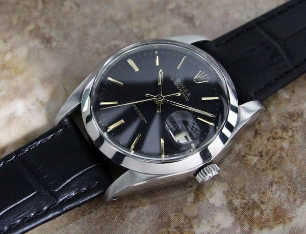 AUTHENTIC MENS VINTAGE ROLEX 6694 OYSTERDATE PRECISION, BLACK DIAL, c.1960s | eBay