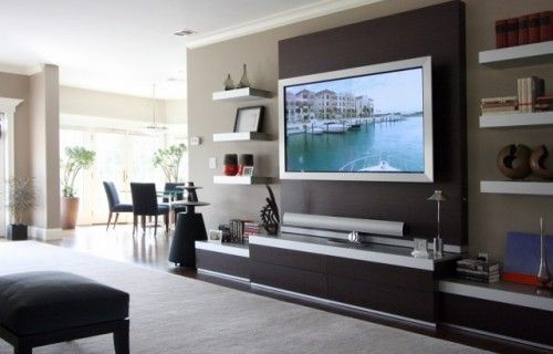 basement tv wall: Ideas, Tv Walls, Floating Shelves, Living Rooms, Family Rooms, Wall United, Tvs, Contemporary Families Rooms, Entertainment Center