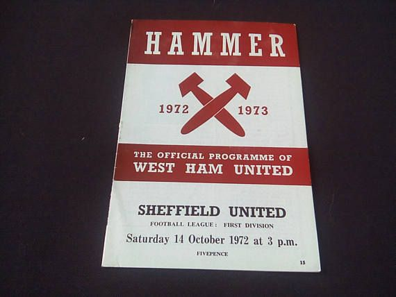 Football programme     West Ham United v Sheffield United    Saturday 14th October 1972 kick off 3.00pm    league division 1    please see photo for images of the programme  and to help with   condition    Programe in photo is the programe that will be sent | Shop this product here: http://spreesy.com/bp-online/1994 | Shop all of our products at http://spreesy.com/bp-online    | Pinterest selling powered by Spreesy.com