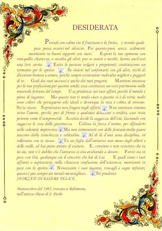 desiderata italiano - Cerca con Google