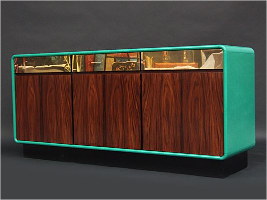 1970's Green lacquered rosewood & brass sideboard.