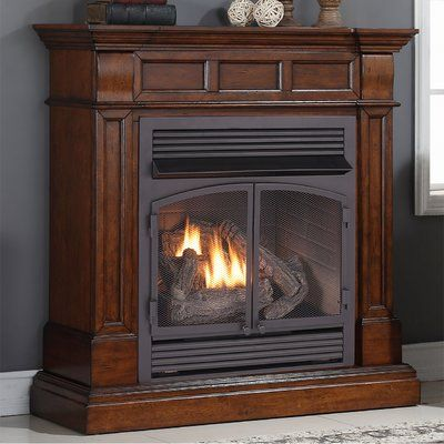 duluth forge dual fuel ventless natural gas propane fireplace finish auburn cherry - Ventless Gas Fireplaces