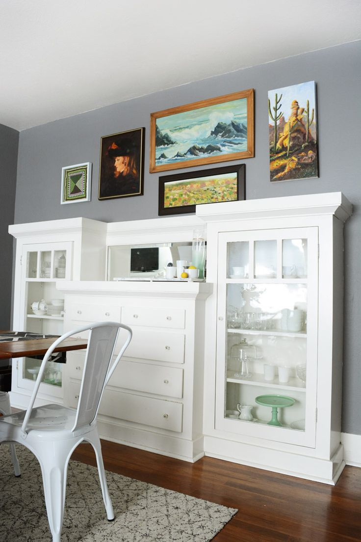 Craftsman style dining room - West Elm Mid Century Style Dining Room With Built Inspainted White And Found Art