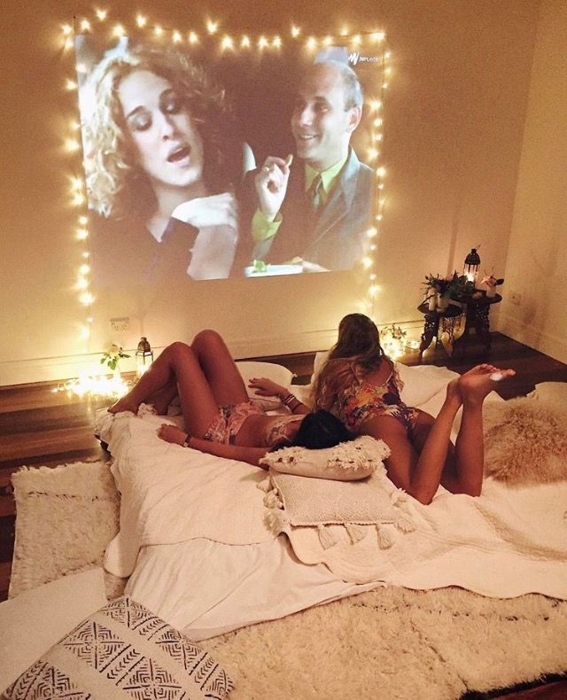 Projector lights and white soft fluffy girly hangouts