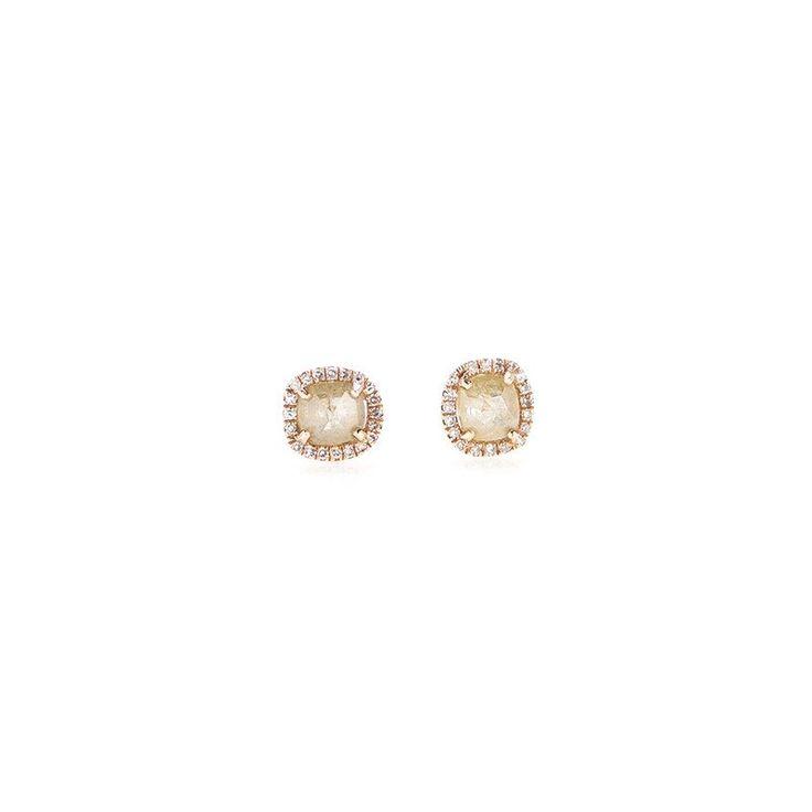 Rough Cut Yellow Diamond Earrings