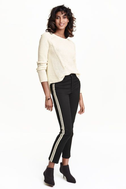 pants in washed superstretch twill with a regular waist and straight,  ankle-length legs with decorative stripes along outer legs.
