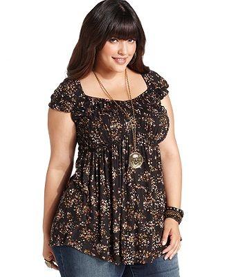 American Rag Plus Size Top, Cap-Sleeve Floral-Print - Plus Size Tops - Plus Sizes - Macy's