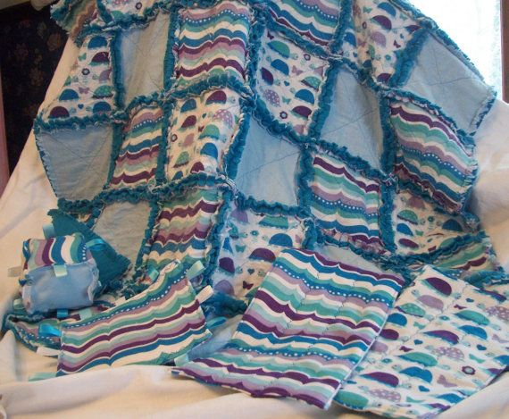 Large Handmade Baby Rag Quilt soft flannel by BlessingsandBabies, $83.00
