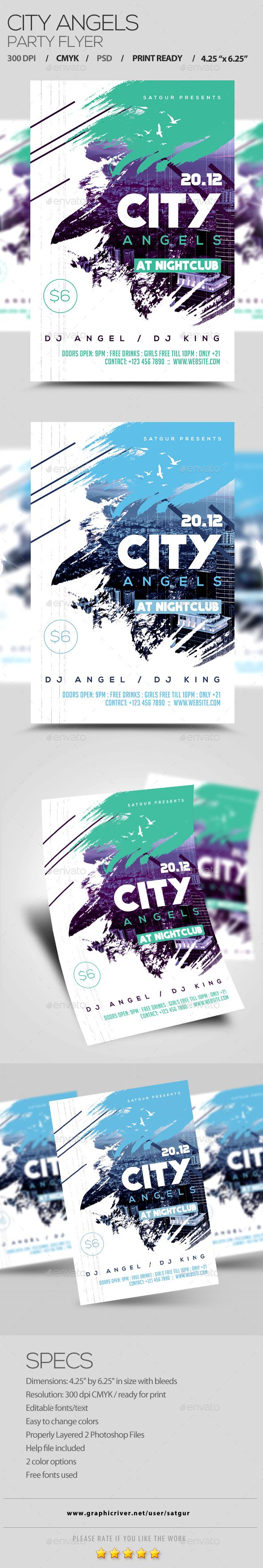 City Angels Party Flyer — Photoshop PSD #nightclub flyer #grunge flyer • Available here → https://graphicriver.net/item/city-angels-party-flyer/13956272?ref=pxcr