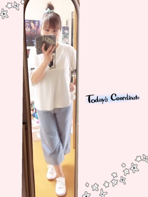 8/10(木) #fashion #刺繍トップス/#GU #デニムガウチョパンツ/#shoplist