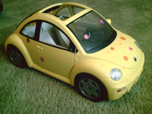 Barbie Yellow VW Beetle Flower Power Bug