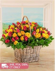 Flowers: 100 Yellow and Cerise Roses in a Basket!