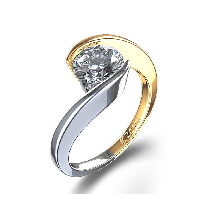Swirl Bezel Set 3/4 ctw Diamond Ring in 14k White & Yellow Gold