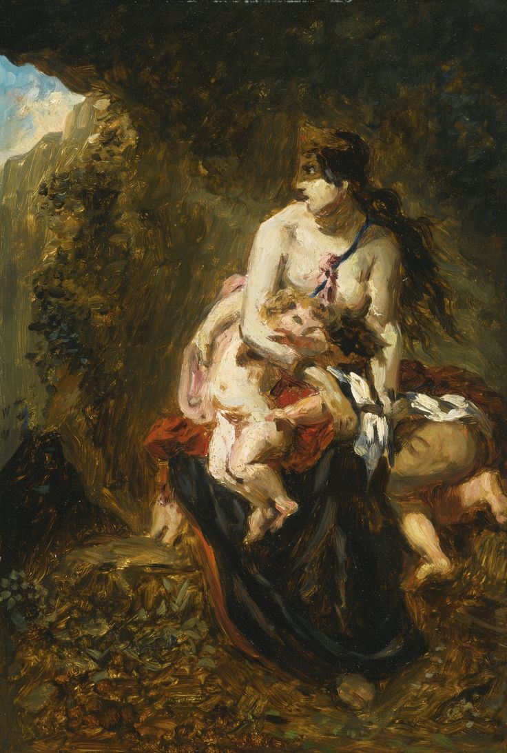 Paul Huet 1803 - 1869 FRENCH MEDEA (AFTER EUGÈNE DELACROIX) oil on board 14 by 9 3/8 in. 35.5 by 23.8 cm: