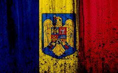 Download wallpapers Romanian flag, 4k, grunge, flag of Romania, Europe, Romania, national symbolism, coat of arms of Romania, Romanian coat of arms