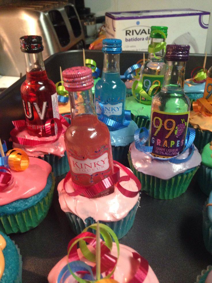 Liquor Bottle Cake Decorations Adorable Birthday Cake Made Out Of Mini Liquor Bottles ~ Image Inspiration Review