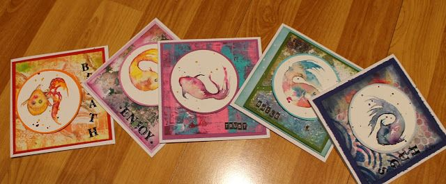 Watercolor fishes and gelliprints in cards.