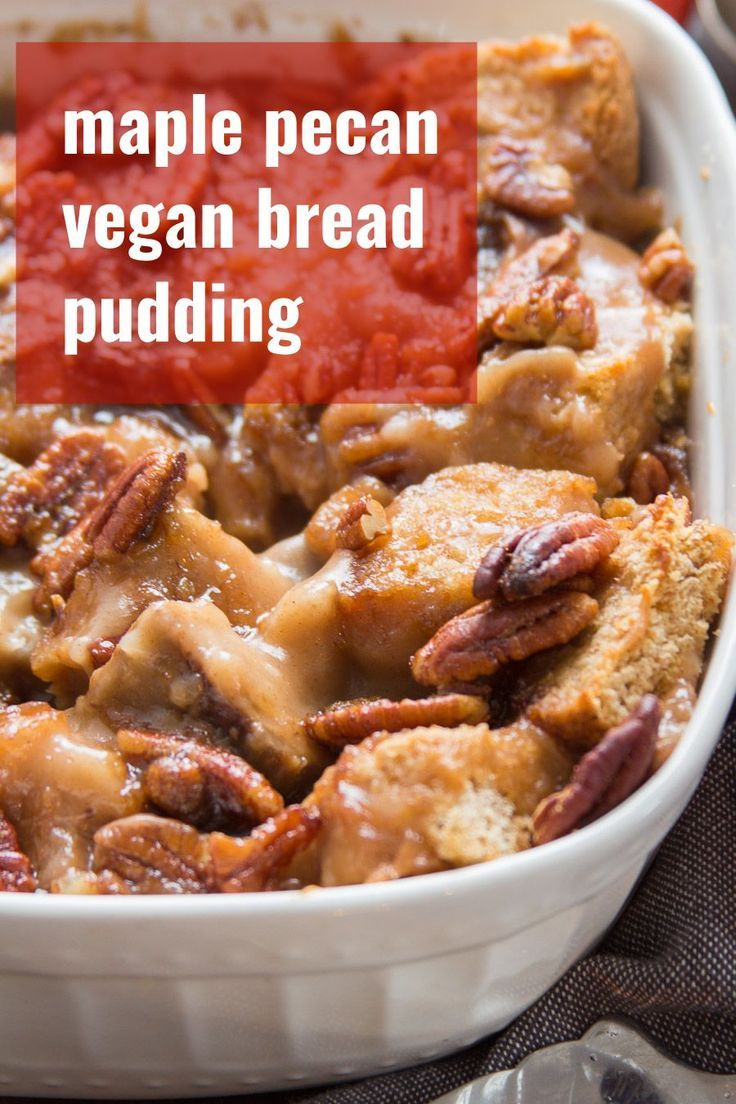 Subtly sweet, ooey, gooey, and bursting with crunchy pecans, this vegan bread pu…