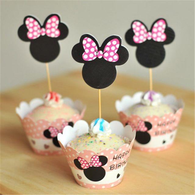 24 шт. Минни Маус с днем рождения кекс обертки торт ботворезы сувениры для душа ребенка дети birthday party украшения сада