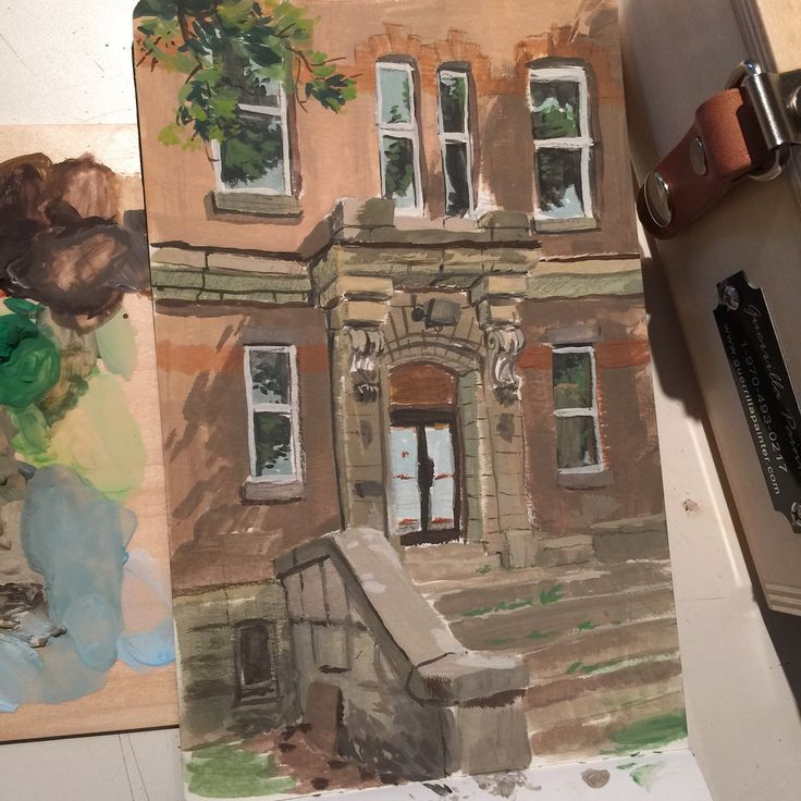 Plein air saturdays session: an old monastery built in 1914, they are repurposing it into condos I believe. Really nice doorway..!