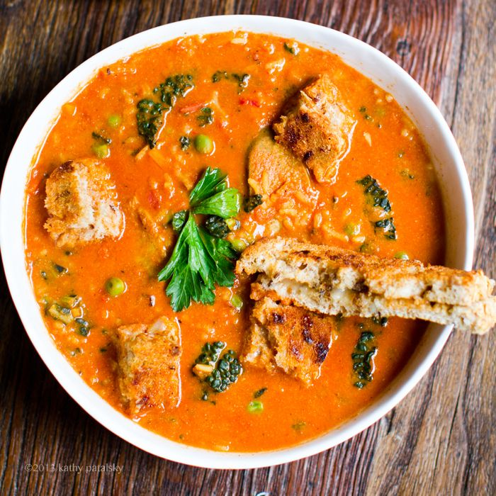 Rustic Tomato Rice Kale Stew.