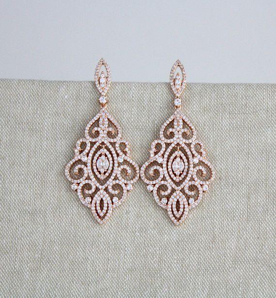 Rose Gold earrings, Bridal earrings, Wedding jewelry, Crystal earrings, Chandelier earrings, Statement earrings, Bridesmaid earrings