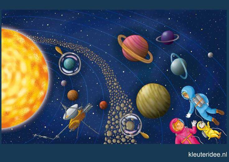 Praatplaat Ruimte 3, planeten, astronauten kleuters, kleuteridee.nl, free printable (groot formaat) / Preschool theme space planets / Láminas Didácticas Astronaute de l'espace maternelle