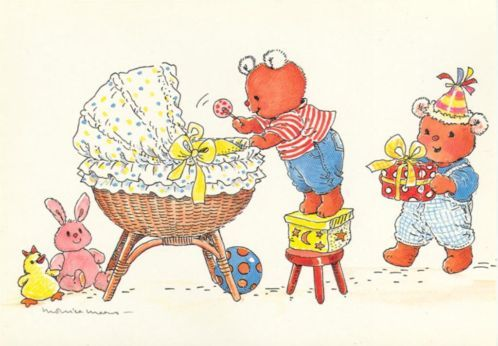 postcard - Monica Maas - 2 teddybears helping with the baby