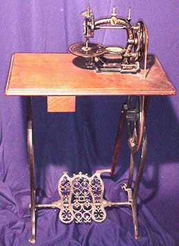 "Erie Sewing Machine. This attractive lockstitch machine was manufactured in the USA during the 1870s. The ""Erie"" originally cost $25 as a hand machine, with the option of a treadle combination for an extra $10:"