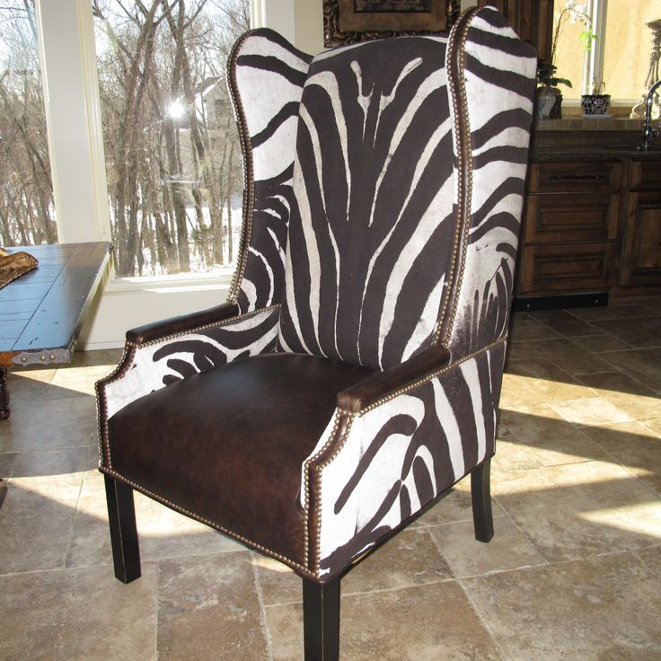 Hair on hide shaved in zebra pattern animal print hide furniture