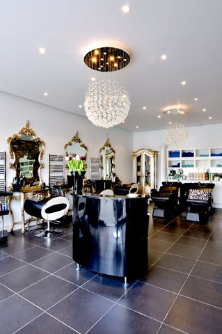 Aqua Hair Salon - London I love the way this salon looks! Mirrors are a little over the top for me but great use of space!