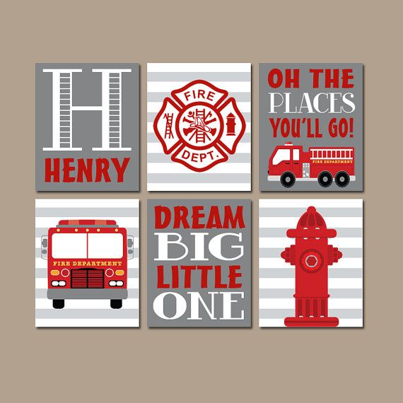 ★FIRE TRUCK Wall Art Boy Nursery Firetruck Artwork Black Red Places Go Child Dream Big Fireman Hydrant Personalized Name Set of 6 Prints ★Includes 6