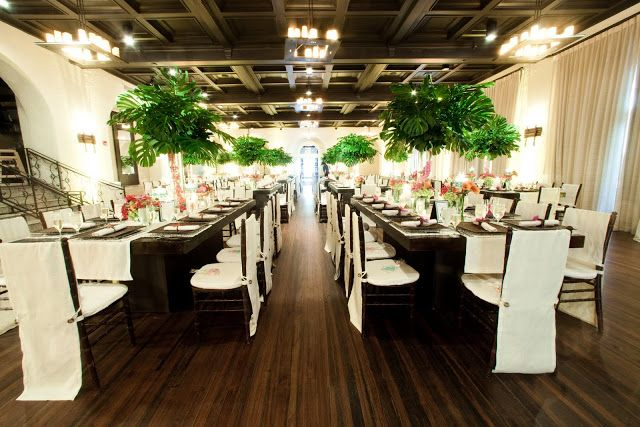 Tropical palm frond centerpiece quot trees above clusters of