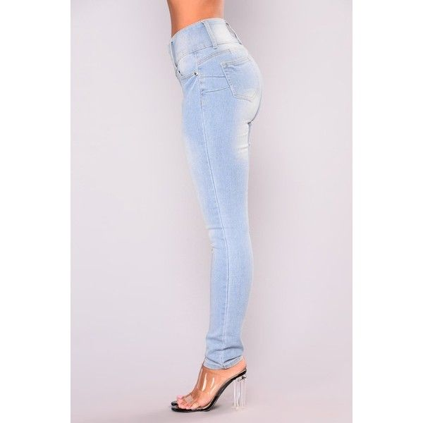 Izalie Skinny Jeans Light Blue Wash ($20) ❤ liked on Polyvore featuring jeans, light blue jeans, light blue skinny jeans, skinny leg jeans, skinny fit jeans and cut skinny jeans