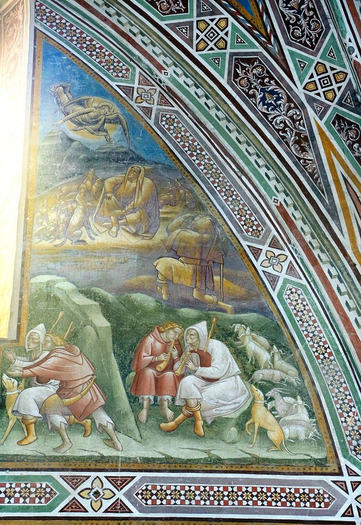 Cenni di francesco, cappella della croce di giorno, 1410, stroie di cristo nell'abside, annuncio ai pastori.JPG