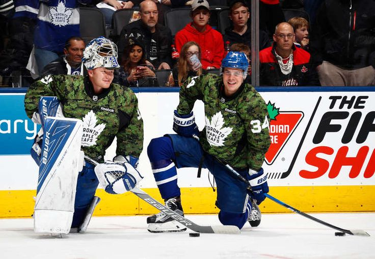 TORONTO, ON - JANUARY 21: Auston Matthews #34 and Frederik Andersen #31 of the Toronto Maple Leafs wear camoflage jerseys during warm up at the Air Canada Centre on January 21, 2017 in Toronto, Ontario, Canada. Canada's military is being honoured as the Leafs play the Ottawa Senators. (Photo by Mark Blinch/NHLI via Getty Images)
