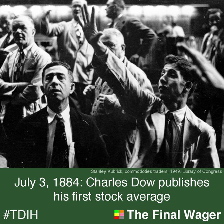 July 3, 1884:  The first  Dow Jones stock average was published.    At the time, railroads were considered the safest stocks, and Dow's average reflects that; only 2 of the 11 corporations were not railroads.